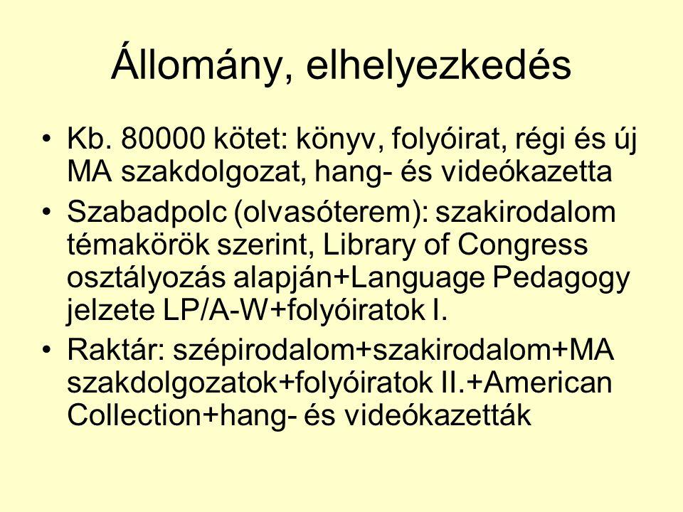 Állomány, elhelyezkedés Kb. 80000 kötet: könyv, folyóirat, régi és új MA szakdolgozat, hang- és videókazetta Szabadpolc (olvasóterem): szakirodalom té