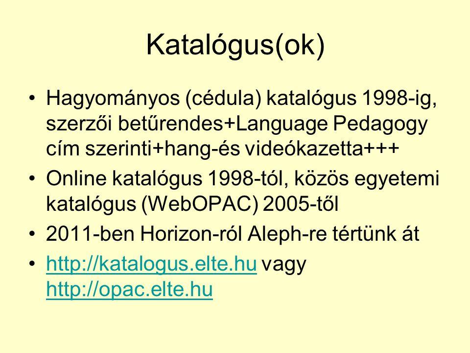 Katalógus(ok) Hagyományos (cédula) katalógus 1998-ig, szerzői betűrendes+Language Pedagogy cím szerinti+hang-és videókazetta+++ Online katalógus 1998-