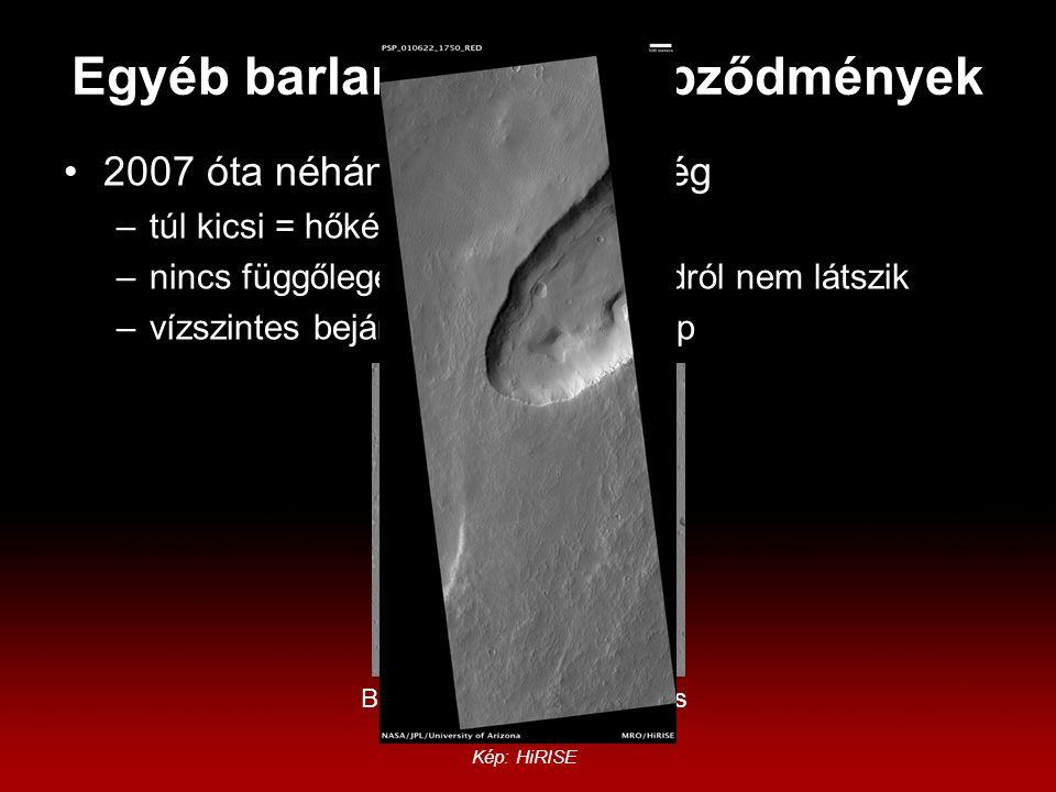 Egyéb barlang-szerű képződmények 2007 óta néhány új, de a többség –túl kicsi = hőképeken nem látszik –nincs függőleges bejárat = műholdról nem látszik –vízszintes bejárat.