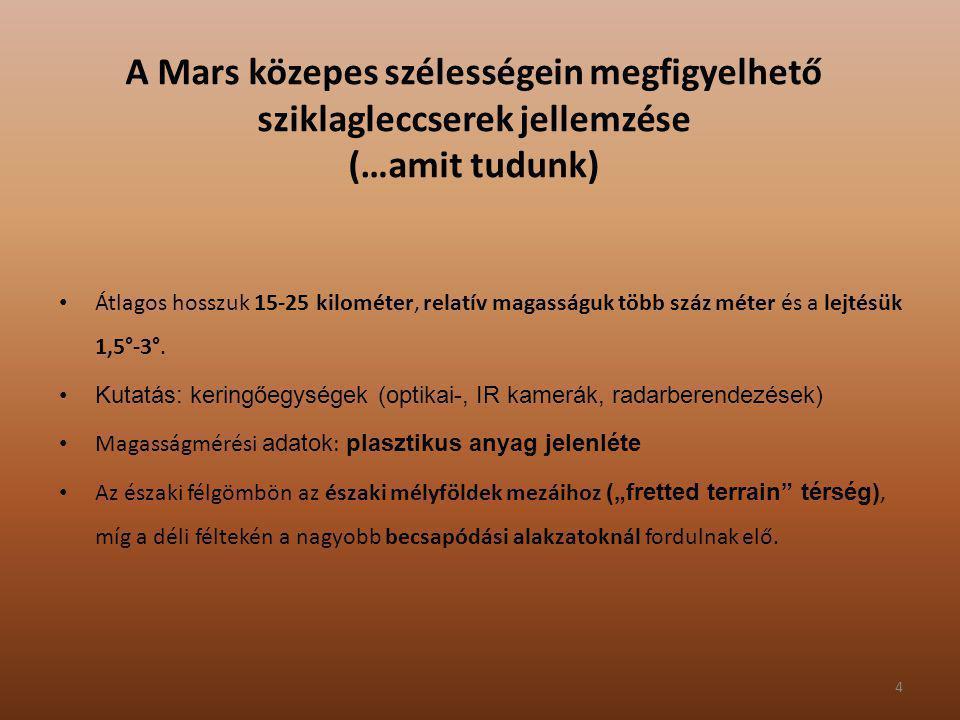 4 A Mars közepes szélességein megfigyelhető sziklagleccserek jellemzése (…amit tudunk) Átlagos hosszuk 15-25 kilométer, relatív magasságuk több száz m