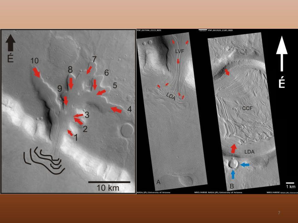 Komplexebb felszíni mintázatok, mint a Földön…(ha egyáltalán vannak) A Mars közepes szélességein megfigyelhető sziklagleccserek jellemzése (…amit tudunk)