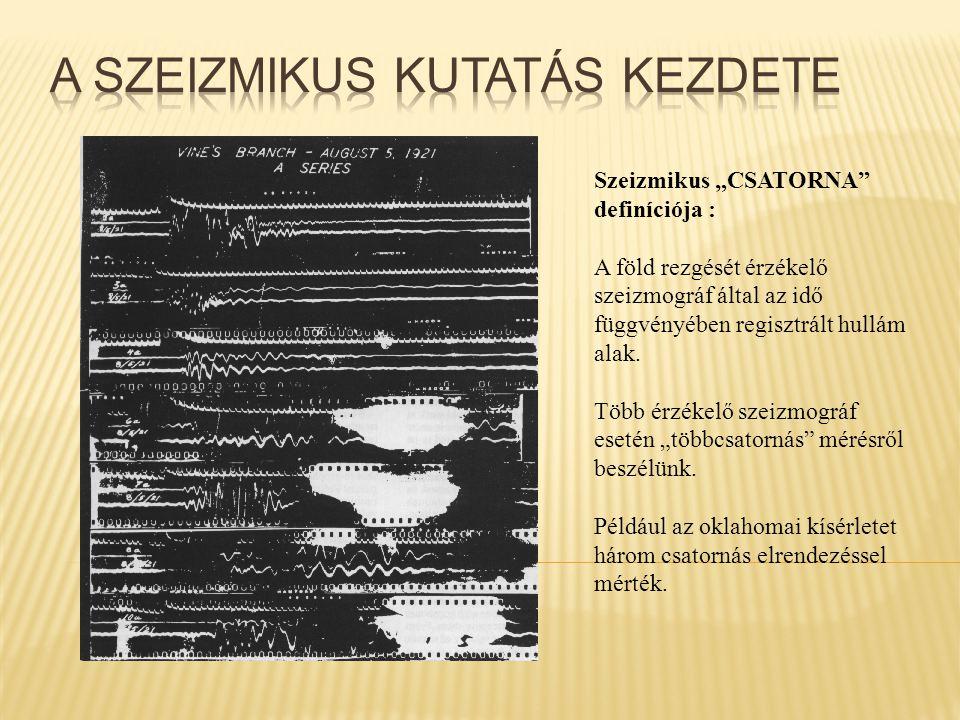 """Szeizmikus """"CSATORNA"""" definíciója : A föld rezgését érzékelő szeizmográf által az idő függvényében regisztrált hullám alak. Több érzékelő szeizmográf"""