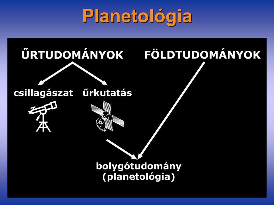 Planetológia Tárgya: a Naprendszer bolygótestjeinek összetételével, belső szerkezetével, formakincsével és felszíni folyamataival, szféráival illetve fejlődéstörténetével foglalkozó tudomány (planetary science) Kapcsolódó területek:csillagászat földrajz földtudomány geofizika meteorológia távérzékelés térinformatika térképészet űrkutatás
