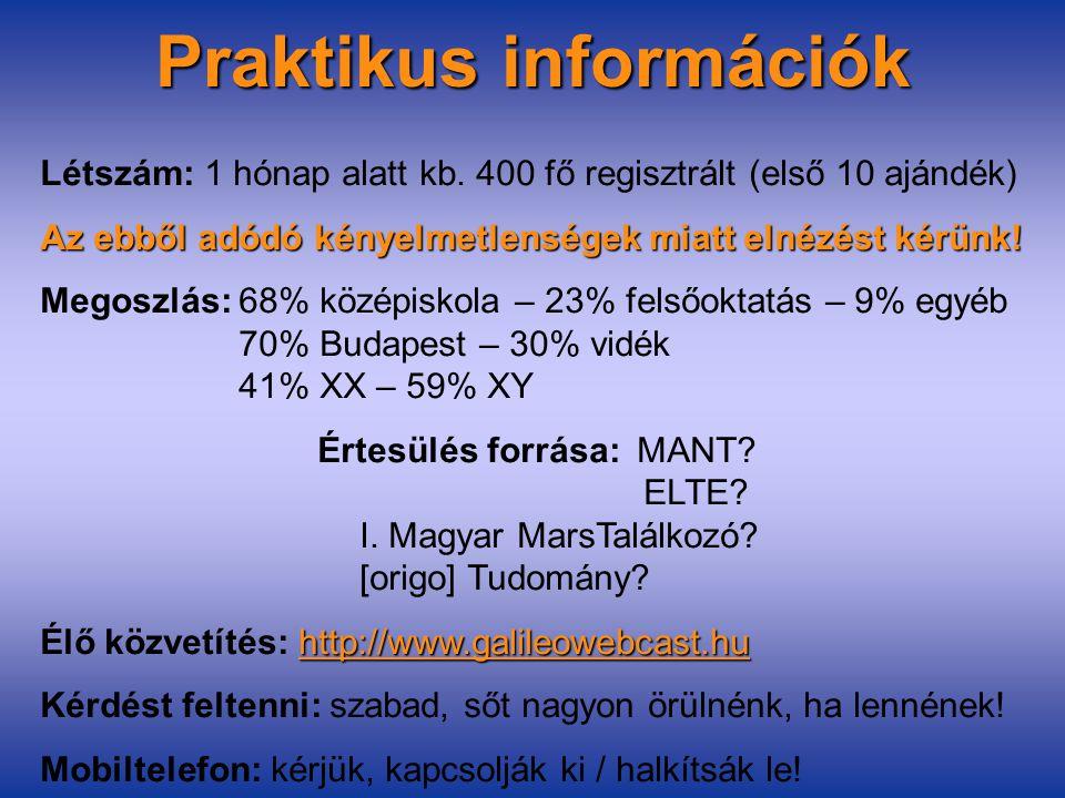 Praktikus információk Létszám: 1 hónap alatt kb.