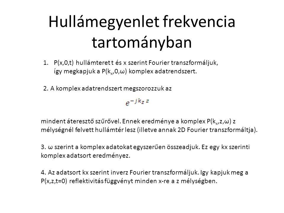 1.P(x,0,t) hullámteret t és x szerint Fourier transzformáljuk, így megkapjuk a P(k x,0,ω) komplex adatrendszert. 2. A komplex adatrendszert megszorozz