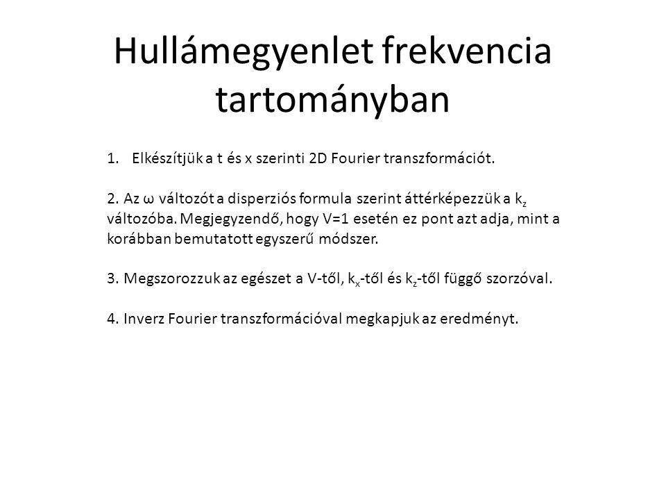 1.Elkészítjük a t és x szerinti 2D Fourier transzformációt. 2. Az ω változót a disperziós formula szerint áttérképezzük a k z változóba. Megjegyzendő,