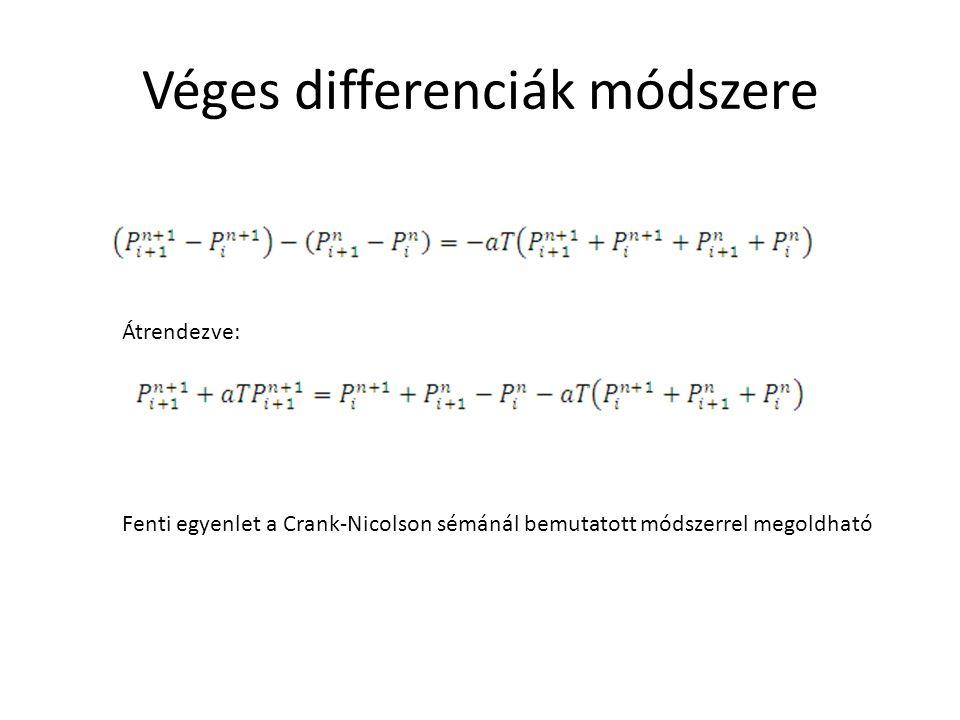 Átrendezve: Fenti egyenlet a Crank-Nicolson sémánál bemutatott módszerrel megoldható