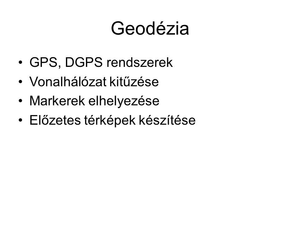 Geodézia GPS, DGPS rendszerek Vonalhálózat kitűzése Markerek elhelyezése Előzetes térképek készítése