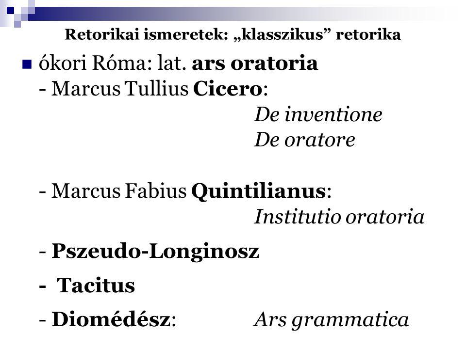 """Retorikai ismeretek: """"klasszikus"""" retorika ókori Róma: lat. ars oratoria - Marcus Tullius Cicero: De inventione De oratore - Marcus Fabius Quintilianu"""