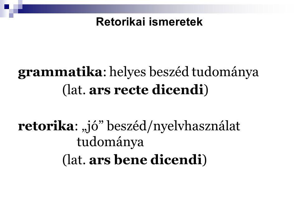 """Retorikai ismeretek grammatika: helyes beszéd tudománya (lat. ars recte dicendi) retorika: """"jó"""" beszéd/nyelvhasználat tudománya (lat. ars bene dicendi"""