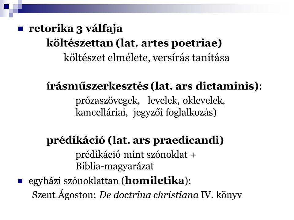 retorika 3 válfaja költészettan (lat. artes poetriae) költészet elmélete, versírás tanítása írásműszerkesztés (lat. ars dictaminis): prózaszövegek, le