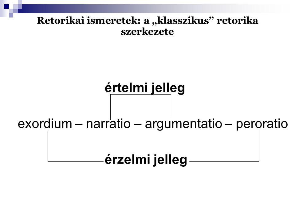 """Retorikai ismeretek: a """"klasszikus retorika szerkezete értelmi jelleg exordium – narratio – argumentatio – peroratio érzelmi jelleg"""