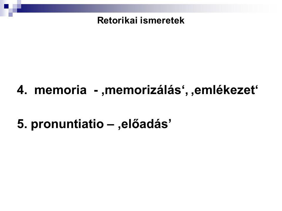Retorikai ismeretek 4. memoria -,memorizálás',,emlékezet' 5. pronuntiatio –,előadás'