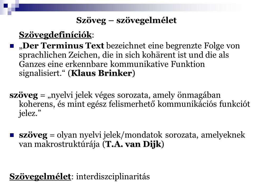 Szöveg – szövegelmélet szöveg: sokrétűen strukturált egység, példa: van Dijk modellje szövegstruktúrák: 1) a szöveg szintjei szerint: 2) terjedelem/ hatókör szerint: 3) a struktúrák formája/milyensége szerint: