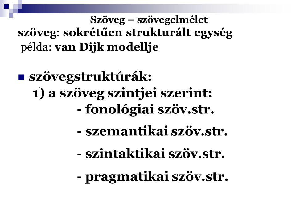 Szöveg – szövegelmélet szöveg: sokrétűen strukturált egység példa: van Dijk modellje szövegstruktúrák: 1) a szöveg szintjei szerint: - fonológiai szöv