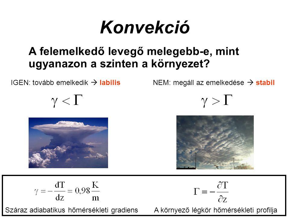 Konvekció A felemelkedő levegő melegebb-e, mint ugyanazon a szinten a környezet? IGEN: tovább emelkedik  labilisNEM: megáll az emelkedése  stabil Sz