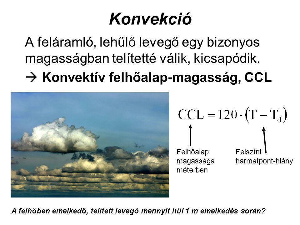 Konvekció A feláramló, lehűlő levegő egy bizonyos magasságban telítetté válik, kicsapódik.  Konvektív felhőalap-magasság, CCL Felszíni harmatpont-hiá