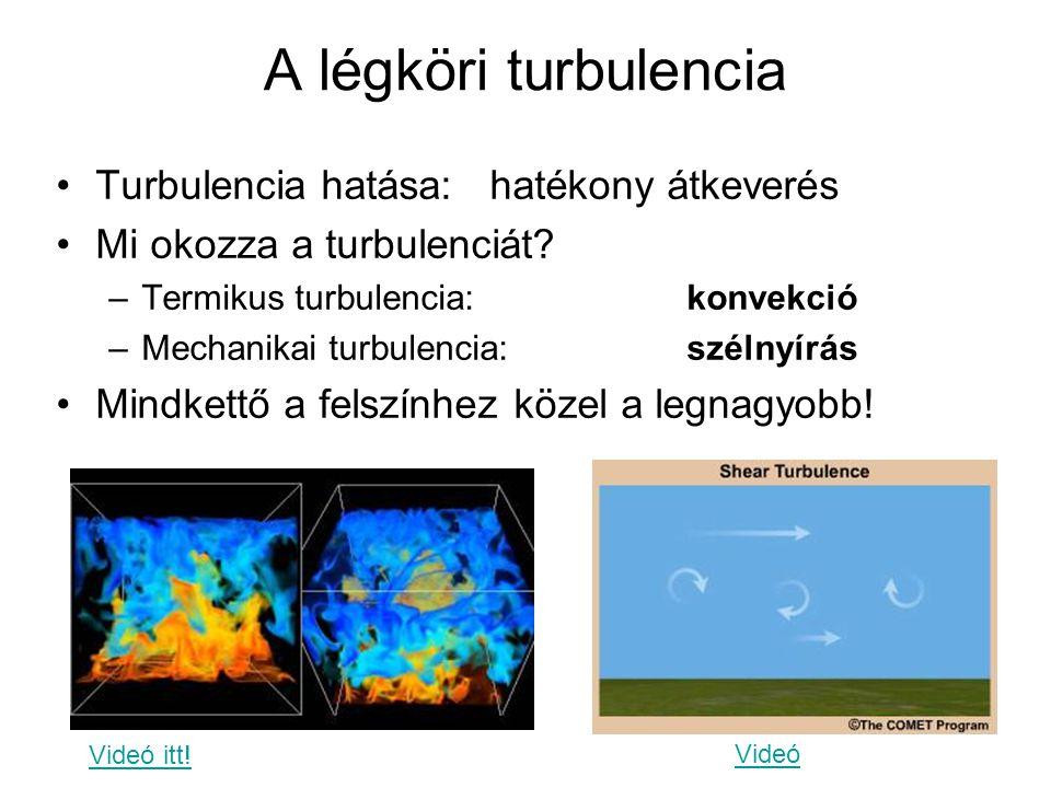 A légköri turbulencia Turbulencia hatása: hatékony átkeverés Mi okozza a turbulenciát? –Termikus turbulencia: konvekció –Mechanikai turbulencia: széln