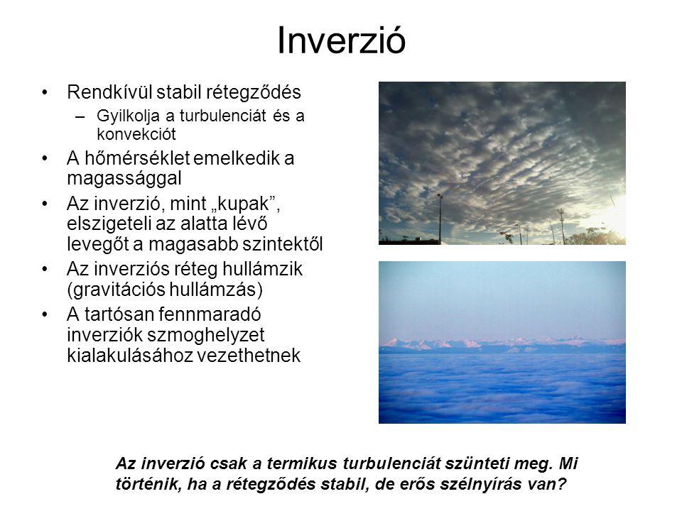 """Inverzió Rendkívül stabil rétegződés –Gyilkolja a turbulenciát és a konvekciót A hőmérséklet emelkedik a magassággal Az inverzió, mint """"kupak"""", elszig"""