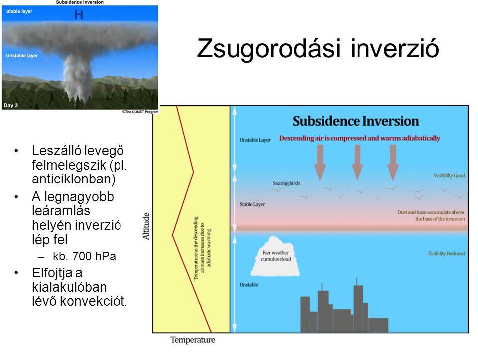 Zsugorodási inverzió Leszálló levegő felmelegszik (pl. anticiklonban) A legnagyobb leáramlás helyén inverzió lép fel –kb. 700 hPa Elfojtja a kialakuló