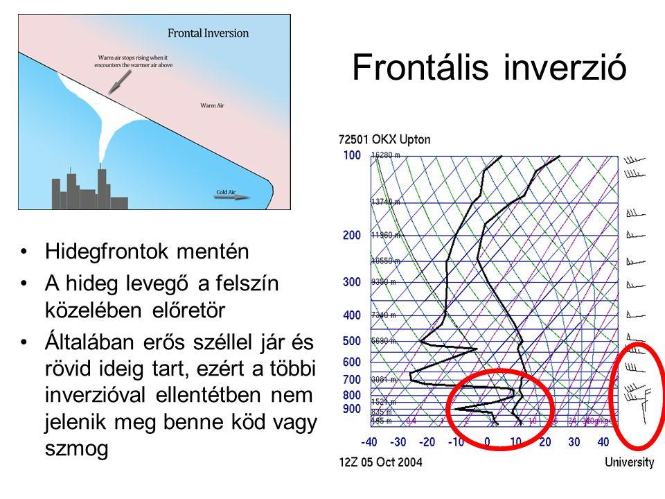 Frontális inverzió Hidegfrontok mentén A hideg levegő a felszín közelében előretör Általában erős széllel jár és rövid ideig tart, ezért a többi inver