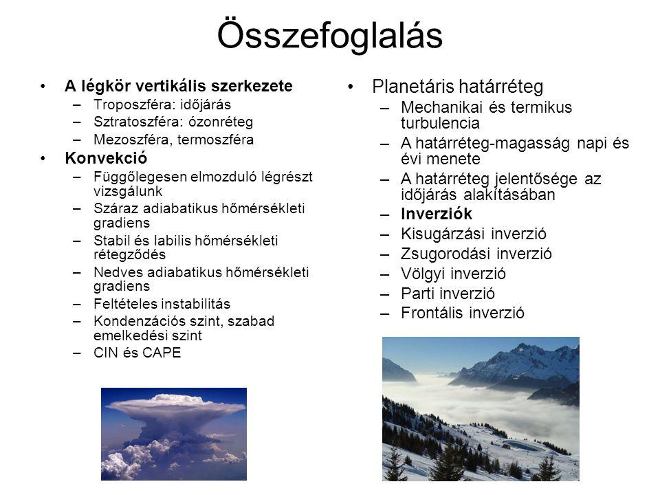Összefoglalás A légkör vertikális szerkezete –Troposzféra: időjárás –Sztratoszféra: ózonréteg –Mezoszféra, termoszféra Konvekció –Függőlegesen elmozdu