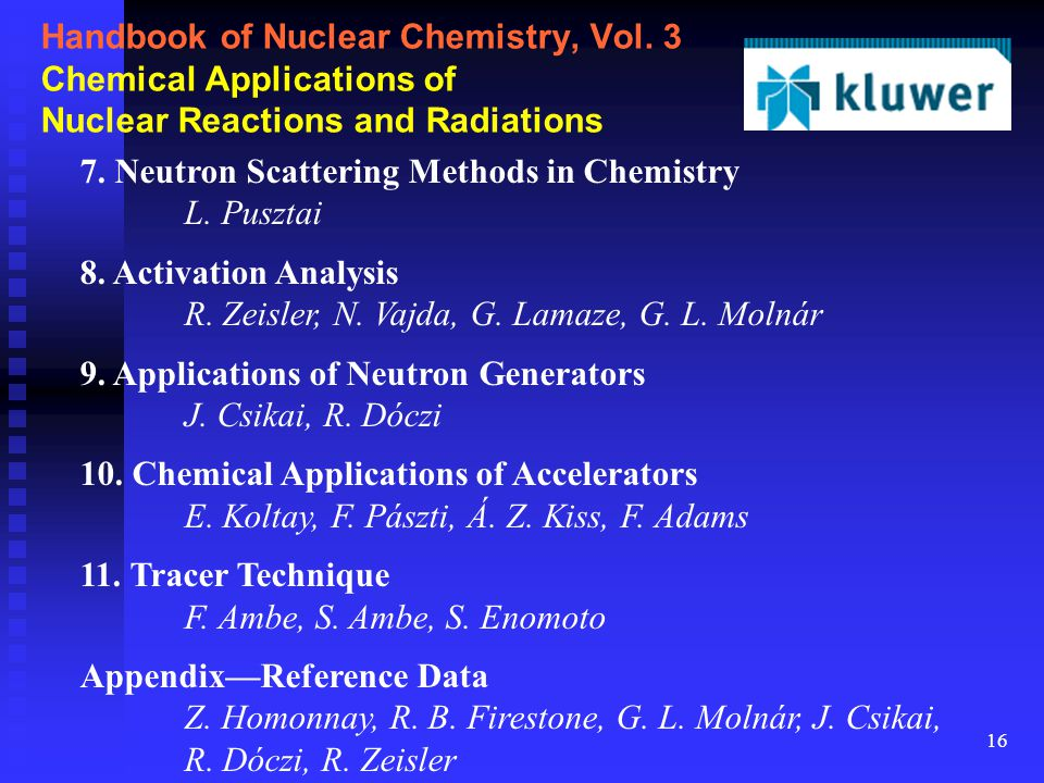 16 Handbook of Nuclear Chemistry, Vol. 3 Chemical Applications of Nuclear Reactions and Radiations 7. Neutron Scattering Methods in Chemistry L. Puszt