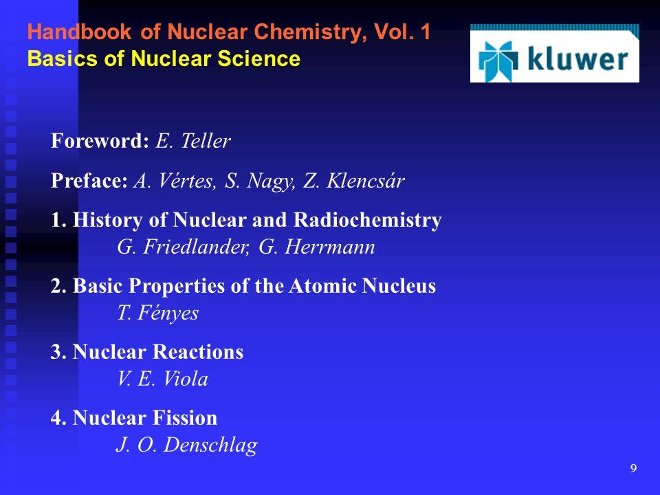 9 Handbook of Nuclear Chemistry, Vol. 1 Basics of Nuclear Science Foreword: E. Teller Preface: A. Vértes, S. Nagy, Z. Klencsár 1. History of Nuclear a