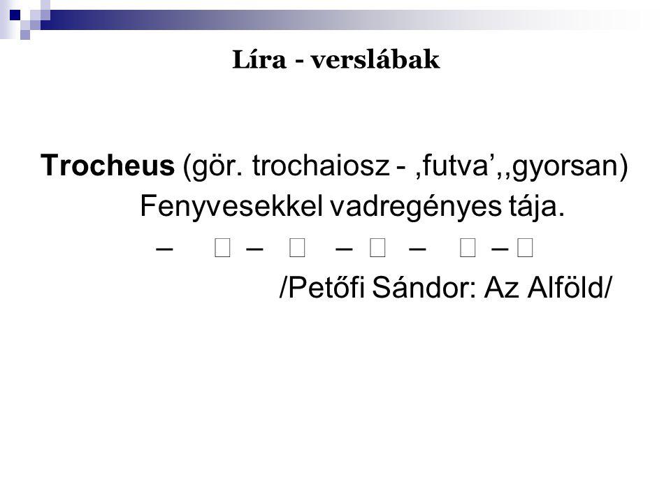 Líra - verslábak Trocheus (gör. trochaiosz -,futva',,gyorsan) Fenyvesekkel vadregényes tája. –  –  –  –  –  /Petőfi Sándor: Az Alföld/