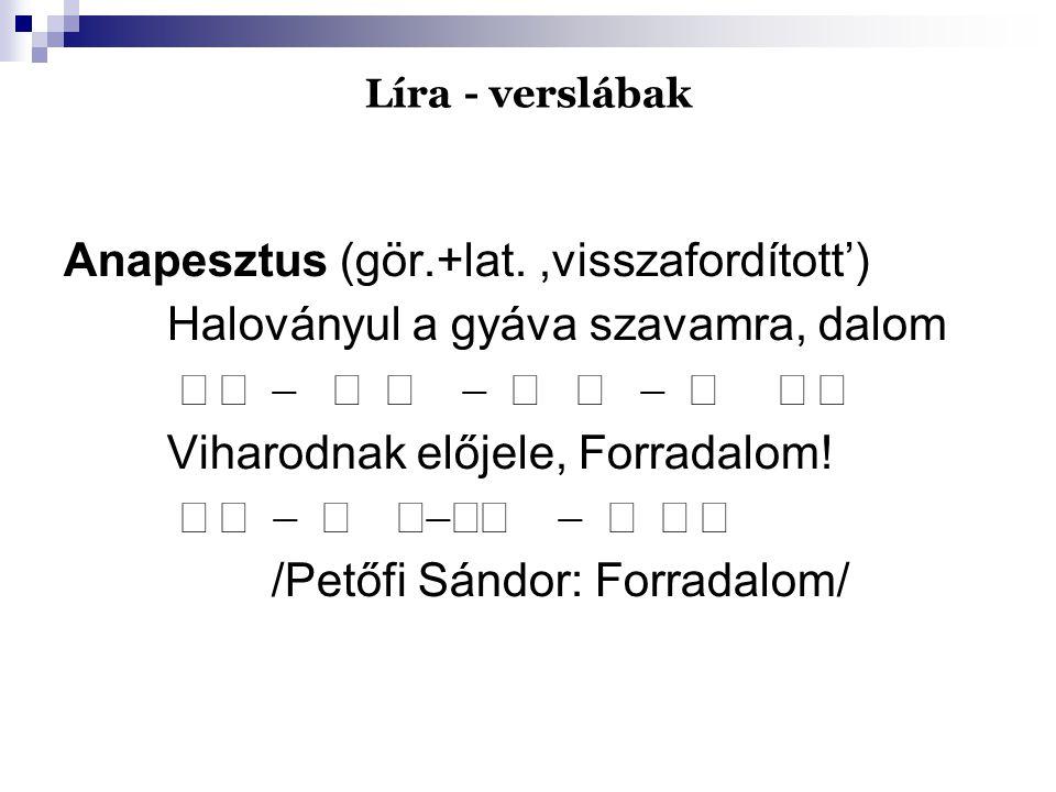 Líra - verslábak Anapesztus (gör.+lat.,visszafordított') Haloványul a gyáva szavamra, dalom      Viharodnak előjele