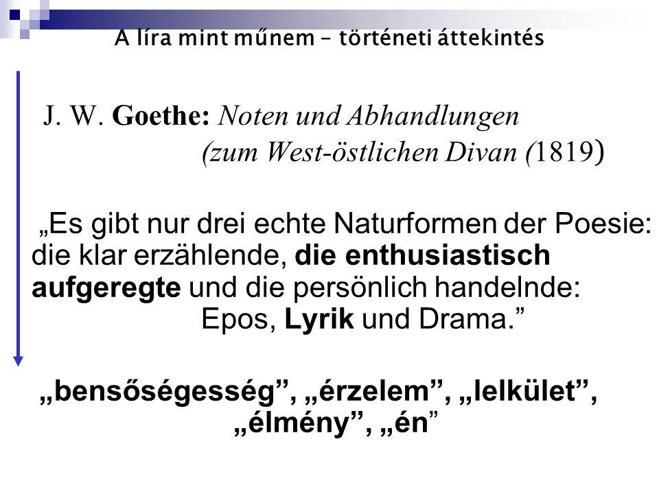 """A líra mint műnem – történeti áttekintés J. W. Goethe: Noten und Abhandlungen (zum West-östlichen Divan (1819 ) """"Es gibt nur drei echte Naturformen de"""