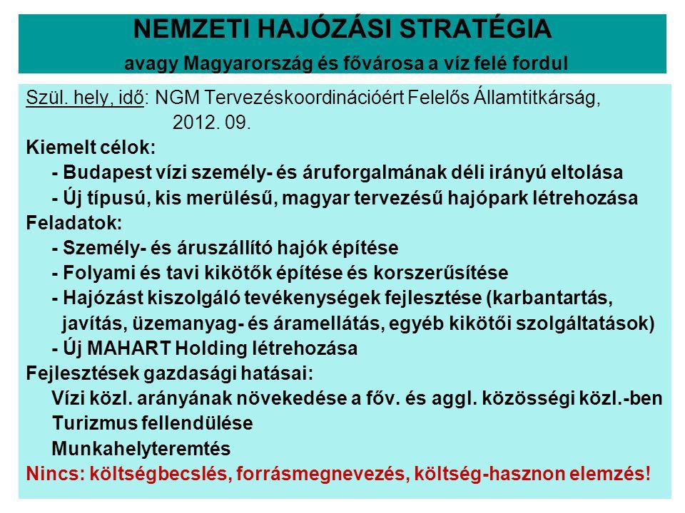 NEMZETI HAJÓZÁSI STRATÉGIA avagy Magyarország és fővárosa a víz felé fordul Szül. hely, idő: NGM Tervezéskoordinációért Felelős Államtitkárság, 2012.