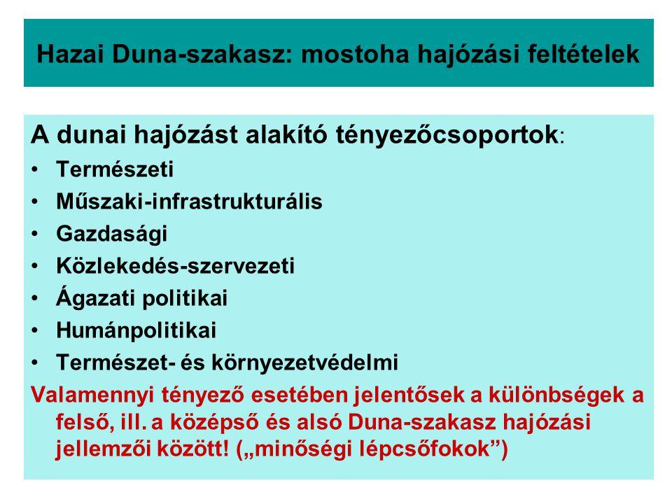 Hazai Duna-szakasz: mostoha hajózási feltételek A dunai hajózást alakító tényezőcsoportok : Természeti Műszaki-infrastrukturális Gazdasági Közlekedés-