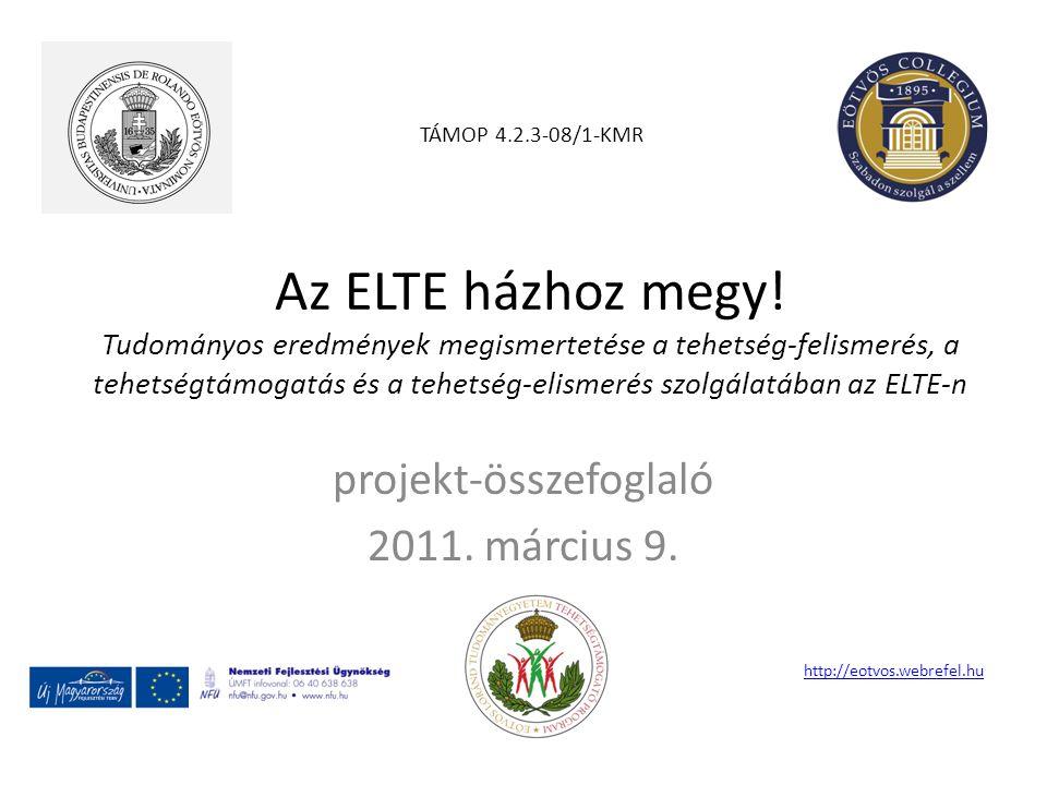 Az ELTE házhoz megy! Tudományos eredmények megismertetése a tehetség-felismerés, a tehetségtámogatás és a tehetség-elismerés szolgálatában az ELTE-n p