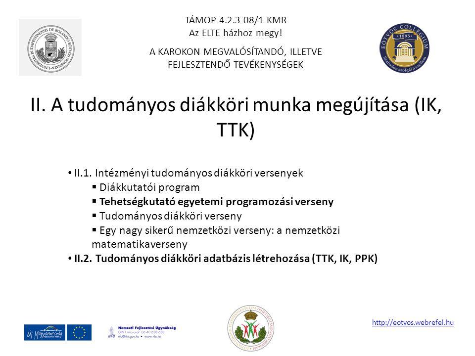 II. A tudományos diákköri munka megújítása (IK, TTK) http://eotvos.webrefel.hu II.1. Intézményi tudományos diákköri versenyek  Diákkutatói program 