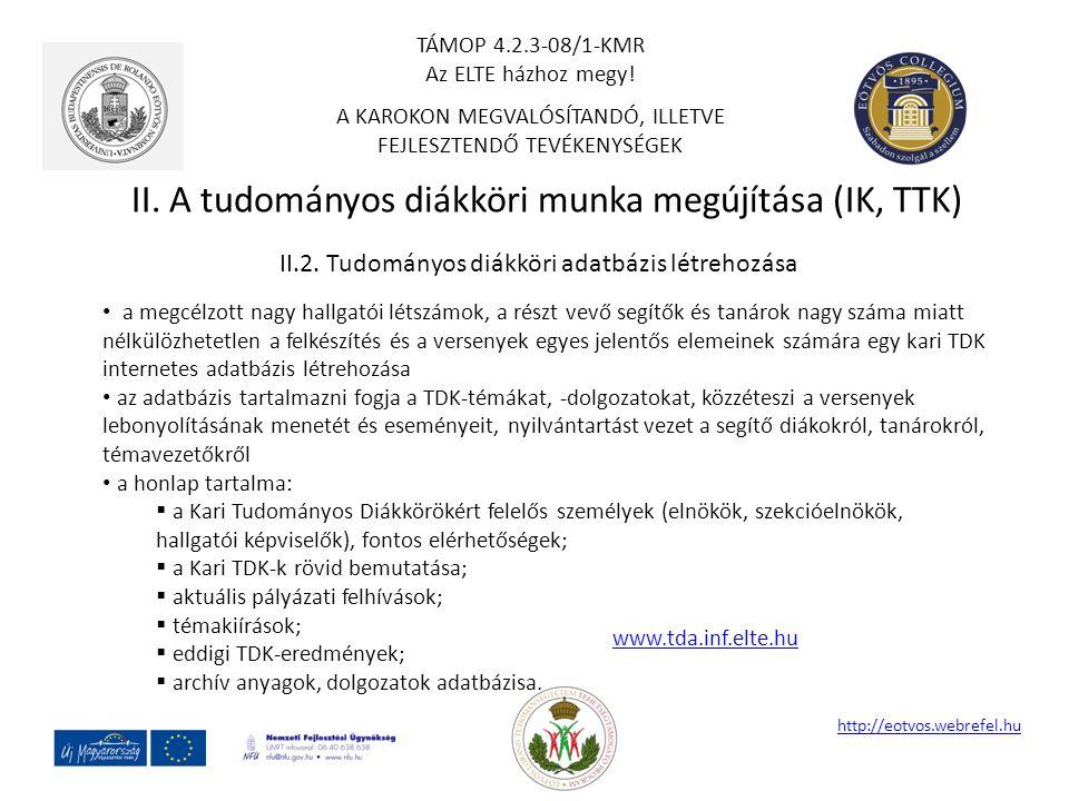II. A tudományos diákköri munka megújítása (IK, TTK) http://eotvos.webrefel.hu II.2. Tudományos diákköri adatbázis létrehozása a megcélzott nagy hallg