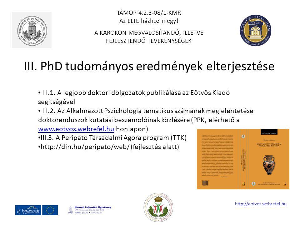 III. PhD tudományos eredmények elterjesztése http://eotvos.webrefel.hu III.1. A legjobb doktori dolgozatok publikálása az Eötvös Kiadó segítségével II