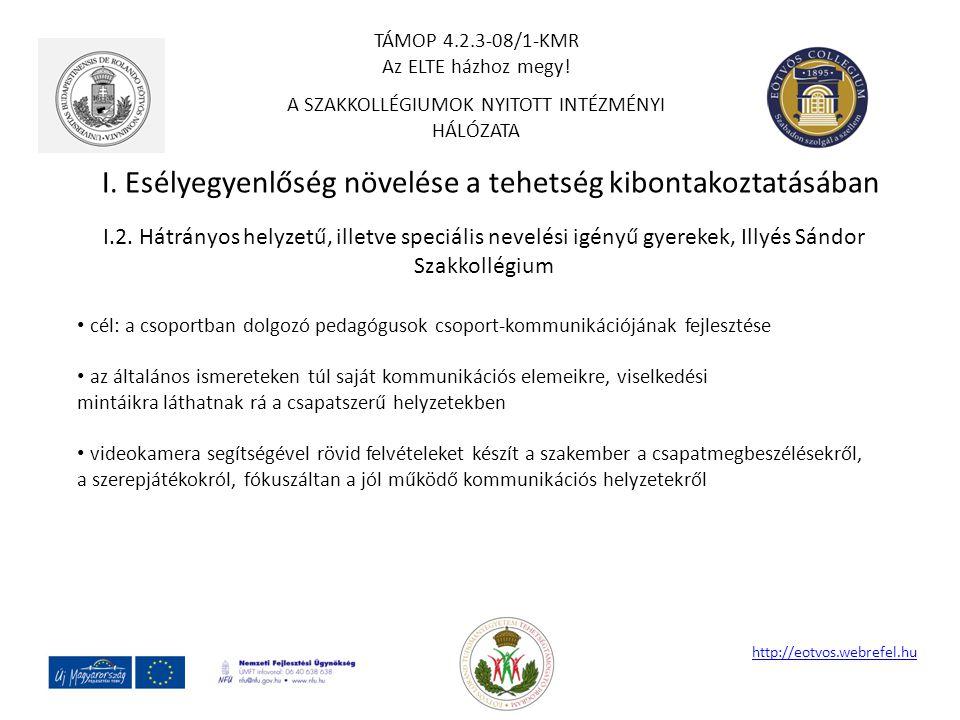 I. Esélyegyenlőség növelése a tehetség kibontakoztatásában http://eotvos.webrefel.hu I.2. Hátrányos helyzetű, illetve speciális nevelési igényű gyerek