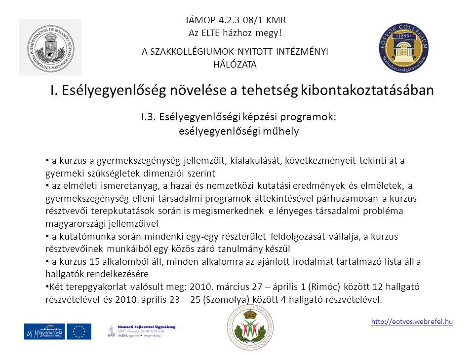 I. Esélyegyenlőség növelése a tehetség kibontakoztatásában http://eotvos.webrefel.hu I.3. Esélyegyenlőségi képzési programok: esélyegyenlőségi műhely