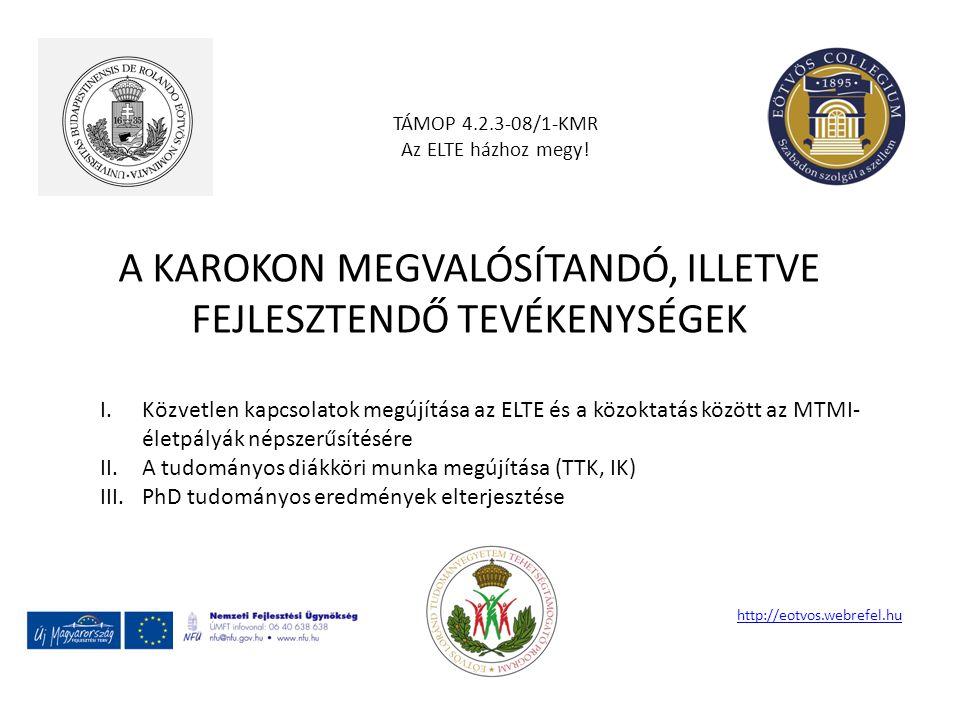 A KAROKON MEGVALÓSÍTANDÓ, ILLETVE FEJLESZTENDŐ TEVÉKENYSÉGEK TÁMOP 4.2.3-08/1-KMR Az ELTE házhoz megy! http://eotvos.webrefel.hu I.Közvetlen kapcsolat
