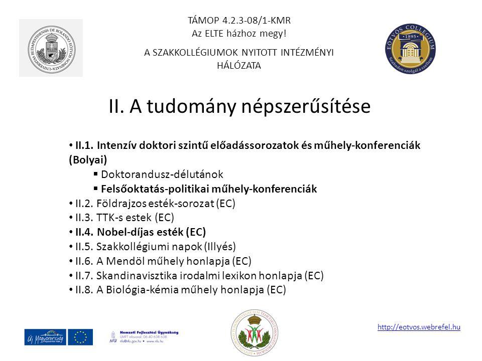 II. A tudomány népszerűsítése http://eotvos.webrefel.hu II.1. Intenzív doktori szintű előadássorozatok és műhely-konferenciák (Bolyai)  Doktorandusz-