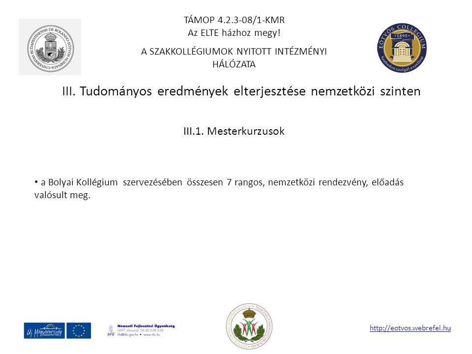 III. Tudományos eredmények elterjesztése nemzetközi szinten http://eotvos.webrefel.hu III.1. Mesterkurzusok a Bolyai Kollégium szervezésében összesen