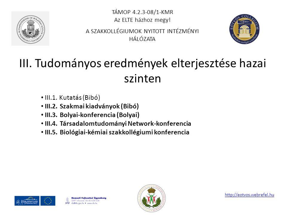 III. Tudományos eredmények elterjesztése hazai szinten http://eotvos.webrefel.hu III.1. Kutatás (Bibó) III.2. Szakmai kiadványok (Bibó) III.3. Bolyai-