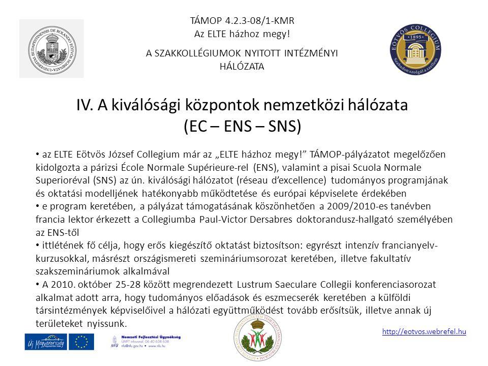 """IV. A kiválósági központok nemzetközi hálózata (EC – ENS – SNS) http://eotvos.webrefel.hu az ELTE Eötvös József Collegium már az """"ELTE házhoz megy!"""" T"""