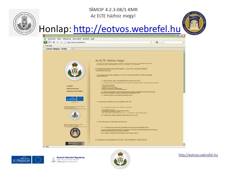 Honlap: http://eotvos.webrefel.huhttp://eotvos.webrefel.hu TÁMOP 4.2.3-08/1-KMR Az ELTE házhoz megy!