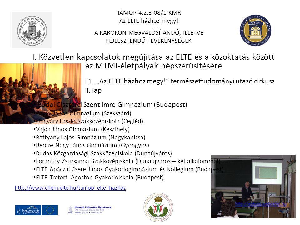 I. Közvetlen kapcsolatok megújítása az ELTE és a közoktatás között az MTMI-életpályák népszerűsítésére TÁMOP 4.2.3-08/1-KMR Az ELTE házhoz megy! A KAR