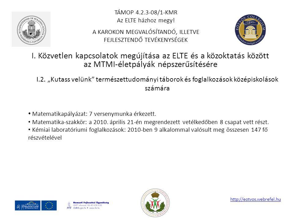 """I. Közvetlen kapcsolatok megújítása az ELTE és a közoktatás között az MTMI-életpályák népszerűsítésére http://eotvos.webrefel.hu I.2. """"Kutass velünk"""""""