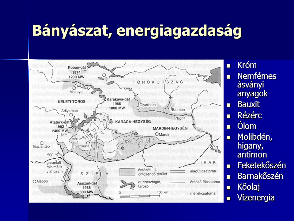 Bányászat, energiagazdaság Króm Króm Nemfémes ásványi anyagok Nemfémes ásványi anyagok Bauxit Bauxit Rézérc Rézérc Ólom Ólom Molibdén, higany, antimon