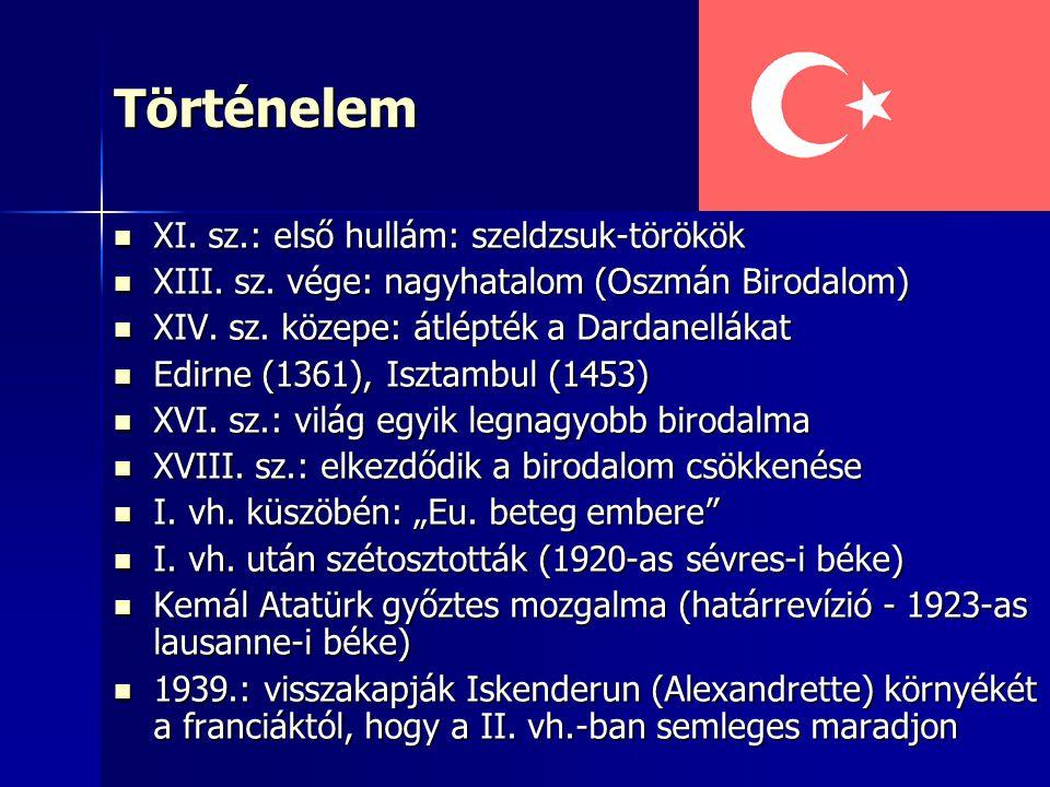 Történelem XI. sz.: első hullám: szeldzsuk-törökök XI. sz.: első hullám: szeldzsuk-törökök XIII. sz. vége: nagyhatalom (Oszmán Birodalom) XIII. sz. vé