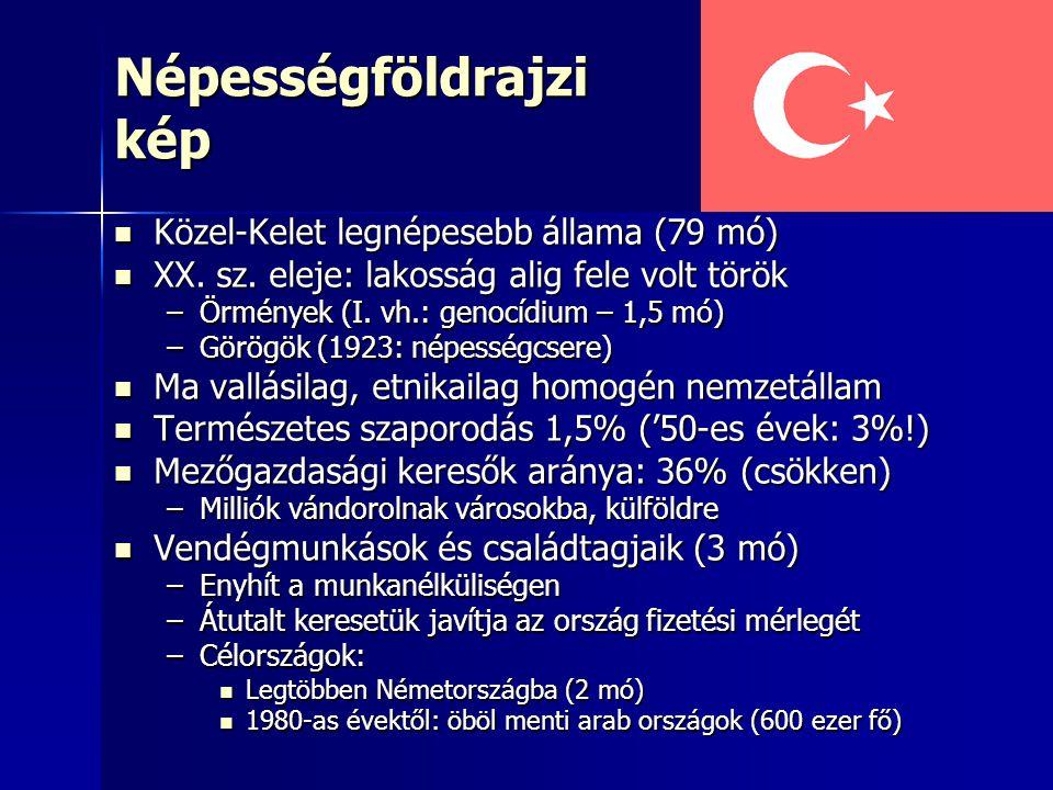 Népességföldrajzi kép Közel-Kelet legnépesebb állama (79 mó) Közel-Kelet legnépesebb állama (79 mó) XX. sz. eleje: lakosság alig fele volt török XX. s